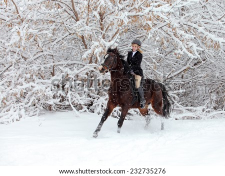 Equestrian girl with horse on a snow forest under a heavy snowfall - stock photo