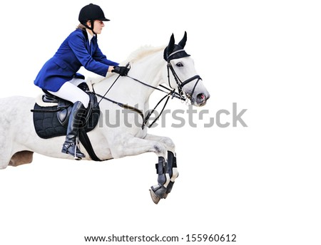 Equestrian sport: young girl in jumping show (isolated on white) - stock photo