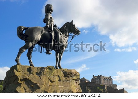 Equestrian statue in front of Edinburgh Castle - stock photo