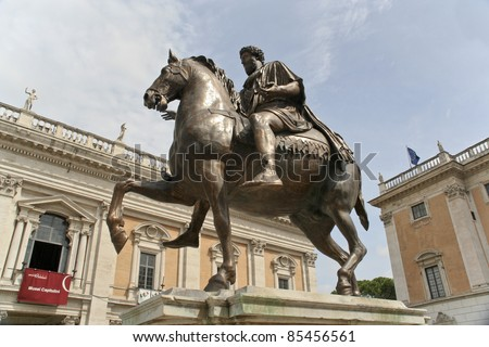 Equestrian Statue Marcus Aurelius on piazza del Campidoglio in Rome. The statue is the subject of the 0.50 Italian euro coin. - stock photo