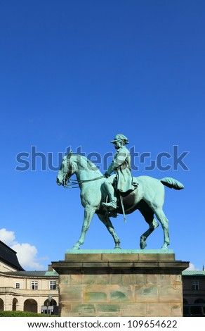 Equestrian statue of king Christian IX in a palace of Kristiansborg. Copenhagen, Denmark