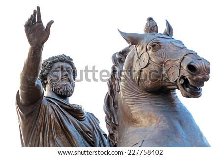 Equestrian statue of Marcus Aurelius in front of Palazzo Senatorio of Campidoglio on the Capitoline Hill, seat of local administration of Rome, Italy - stock photo