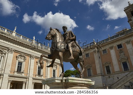 equestrian statue of Marcus Aurelius in the Campidoglio Square - stock photo