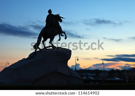 Equestrian statue of Peter the Great in Saint Petersburg, Russia - stock photo