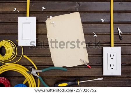 Equipment and tools for installing electrical outlets and switches. - stock photo