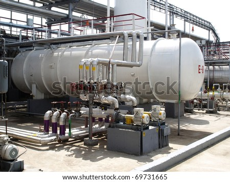 Equipment at an oil refinery facility. - stock photo