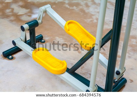 Equipment exercise for leg in fitness outdoor training ground.