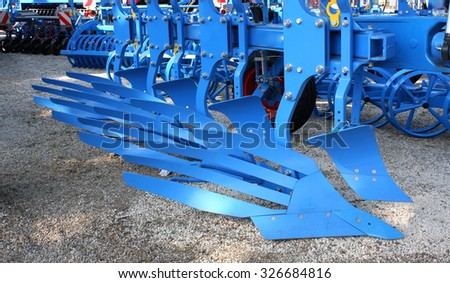 Equipment for agriculture, on agricultural exhibition. - stock photo