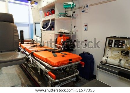 Equipment for ambulances. View from inside. - stock photo