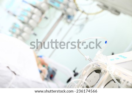 Equipment for dialysis in the medical room at the patient lying - stock photo