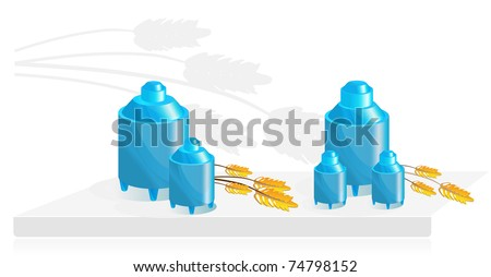 Equipment for food storage, two can and ears of wheat - stock photo