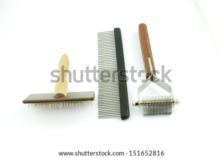 Equipment for grooming and trimming the dog coat - stock photo