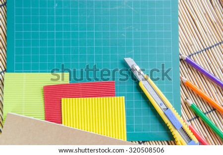 Equipment for making gifts Colorful stationery for background
