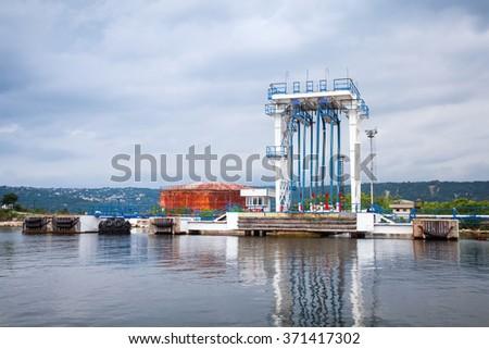 Equipment for oil tankers loading. Black sea coast, Varna port, Bulgaria - stock photo
