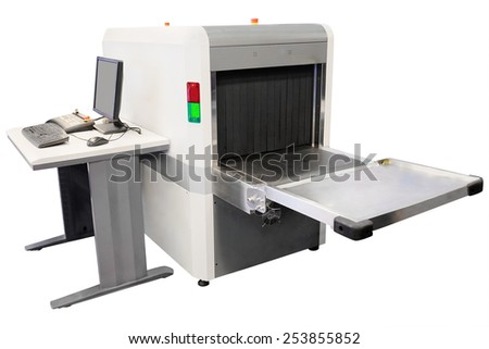 Equipment for scanning luggage at the airport  isolated under the white background - stock photo