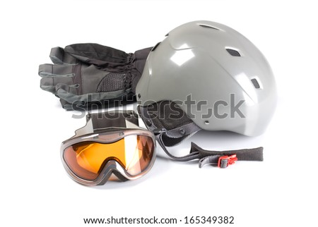 Equipment for snowboarding on a white background.