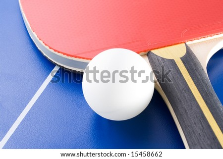 Equipment for table tennis - racket, ball, table. 4 - stock photo