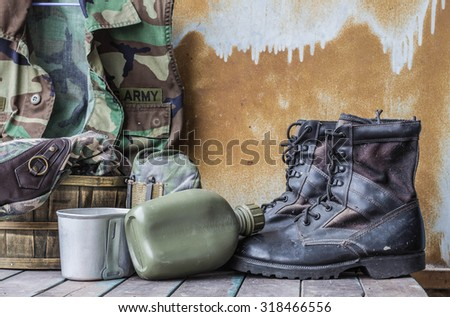 Equipment for the departure of the troops on the wooden - stock photo