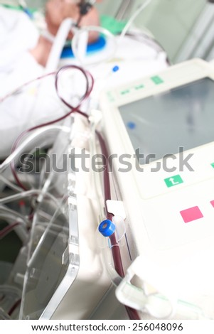 Equipment for the treatment of a patient in the ward - stock photo