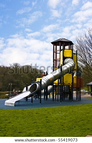 Equipment in a children's play park - stock photo