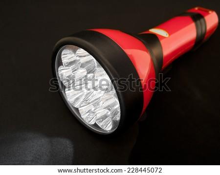 Equipment - isolated Lantern - alight - black background - led - stock photo