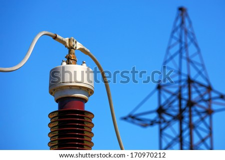Equipment of electric substation - stock photo