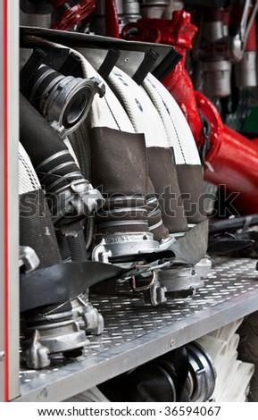 Equipment of Fire Truck - stock photo