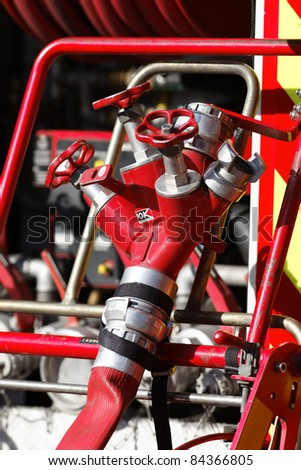Equipment of Fire Truck in a site - stock photo