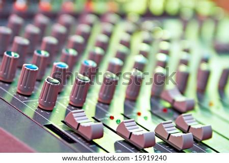equipment of the green colour in audio recording studio - stock photo