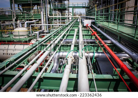 Equipment,  piping as found inside of a modern industrial petrochemical plant - stock photo