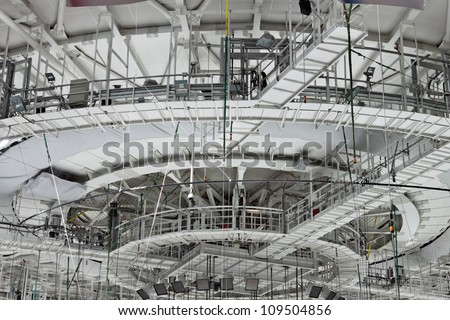 Equipment under the dome of the modern indoor stadium