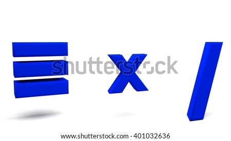 Equivalent, multiply and division 3D signs, with big fonts isolated on white background. 3D rendering. - stock photo