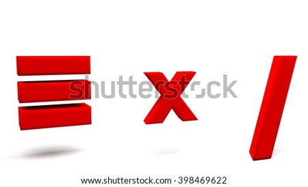 Equivalent, multiply and division 3D signs, with big golden fonts isolated on white background. 3D rendering. - stock photo