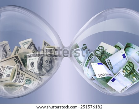Equivalent. The same exchange rate. Hourglass filled with banknotes of dollars and euros. Symbolizes the business process.