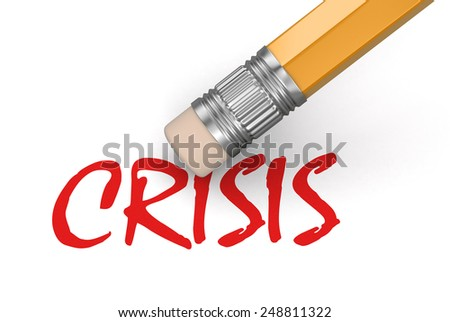 Erase Crisis (clipping path included) - stock photo
