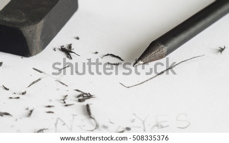 Eraser and pencil, Mistake erase concept, Change concept, From wrong to cheap, Black pencil with black eraser on white background,  Eraser with pencil and white paper