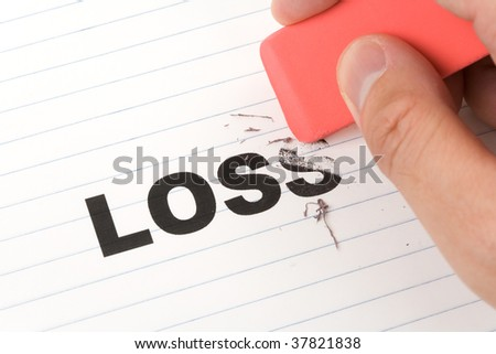 eraser and word loss, concept of Reduce financial loss