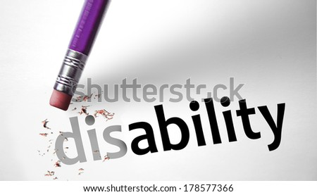 Eraser changing the word Disability for Ability  - stock photo