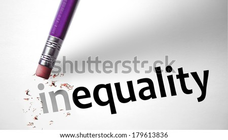 Eraser changing the word inequality for equality - stock photo