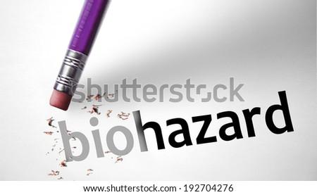 Eraser deleting the word Biohazard - stock photo