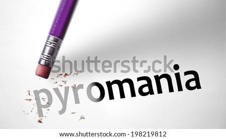 Eraser deleting the word Pyromania - stock photo