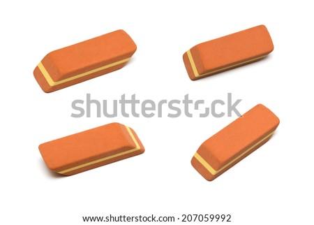 eraser set isolated on white - stock photo