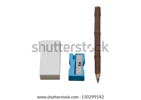 Eraser, sharpener and pencil on white background - stock photo