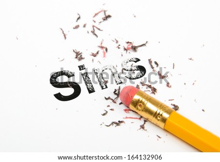 Erasing Sins with a rubber eraser concept.  - stock photo