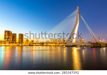 Erasmus bridge over the river Meuse in , the Netherlands - stock photo