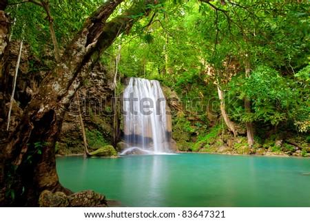 Eravan Waterfall in Kanchanaburi, Thailand - stock photo