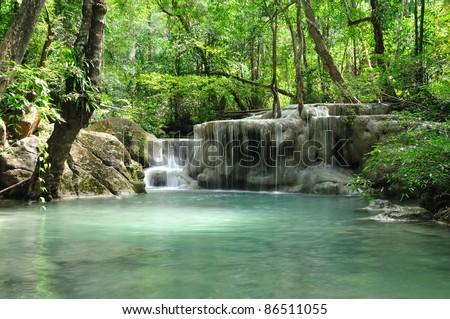Eravan Waterfall, Kanchanabury, Thailand - stock photo