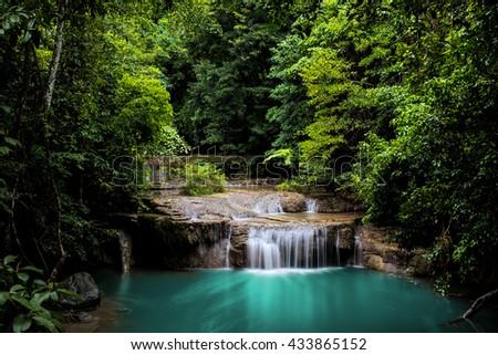 Erawan Green Blue Waterfall Thailand National Park - stock photo