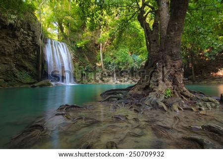 Erawan Waterfall, Deep forest waterfall at the National Park,Kranchanaburi,Thailand  - stock photo
