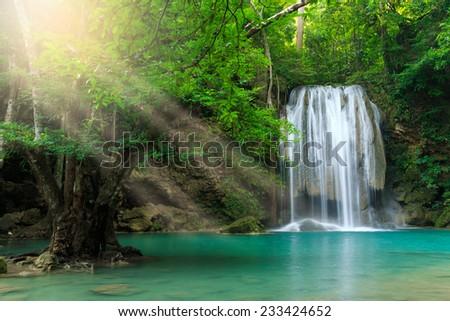 Erawan Waterfall, Erawan National Park in Kanchanaburi, Thailand - stock photo